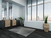 Picture of modern luxury bathroom interior with bathtub