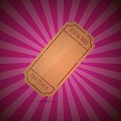 Empty Ticket Illustration on Retro Pink Background