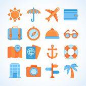 Flat Vector Icon Set Of Travel Symbols