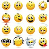 image of sad faces  - Vector set of smiley icons with different face expression - JPG