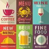 stock photo of recipe card  - Restaurant posters set with flat design - JPG
