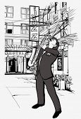 foto of saxophone player  - Vector illustration of saxophone player in a street at night - JPG