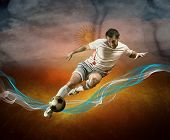 Abstract waves aroun soccer player on the national flag of Argentina background