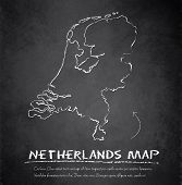 Netherlands Holland map blackboard chalkboard vector