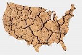 Map shape of the United States with dry parched earth representing drought conditions due to Climate