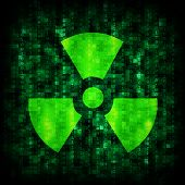 Binary code and radiation icon