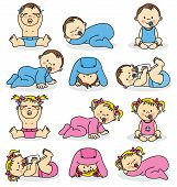 stock photo of pacifier  - Vector illustration of baby boys and baby girls - JPG