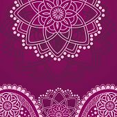 image of henna tattoo  - Traditional Indian henna design purple background with space for text - JPG