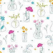 Fresh flowers in vases seamless pattern background