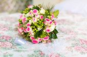 stock photo of dowry  - Wedding accessories for the morning of the bride in pink  - JPG