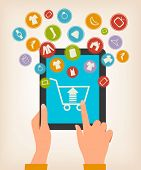 E-shopping concept. Hands touching a tablet with shopping icons. Raster version.