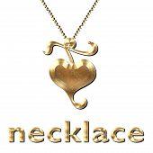 Heart Necklace Gold Leaf
