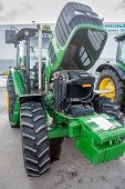 Tractor with open cowl. Tyumen. Russia