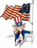 stock photo of uncle  - Vector Cartoon Illustration of Uncle Sam holding a Betsy Ross American flag pointing  - JPG