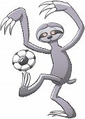 Sloth playing soccer