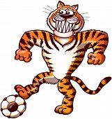 Brave tiger playing soccer