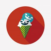 Halloween Ice Cream Flat Icon With Long Shadow