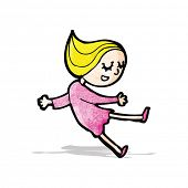 happy blond girl cartoon