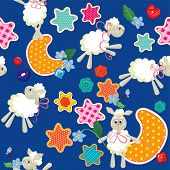 Seamless Pattern - Sweet Dreams - Sheep Toys, Stars And Moon Are Made Of Fabric - Childish Backgroun