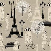 Seamless Pattern - Effel Tower, Street Lights, Old Fashioned Girls  - Background For Fashion Or Reta