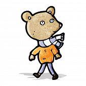 cartoon bear wearing scarf