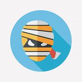 Halloween Mummy Flat Icon With Long Shadow,eps10