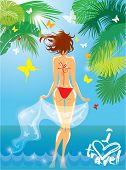 Woman In Bikini Swimwear At Tropical Beach