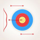 One arrow hits the center of a target.