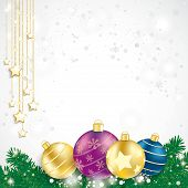 Colored Baubles Fir Branches Chain Stars