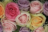 Pastel Roses In Bridal Arrangement