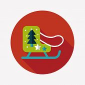Christmas Sleigh Flat Icon With Long Shadow,eps10