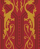 picture of jousting  - Vector seamless pattern with golden gothic dragons - JPG