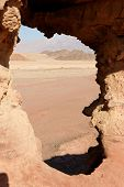 Window in the rock in desert