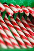 candy canes in green pack, closeup view