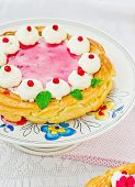 Tart  With Cottage Cheese, Cowberry And Cream