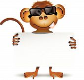 stock photo of incognito  - illustration merry monkey with sunglasses and with a white background - JPG