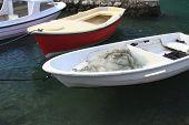 Fishing Boats With Nets Closeup.