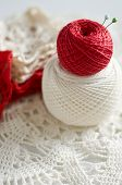 Cotton Skeins In Red And White, Selective Focus