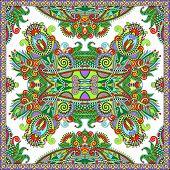Traditional ornamental floral paisley bandanna. Square ornament
