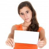 Hispanic teenage girl holding a blank sign with space for text