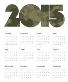 Calendar 2015 Camouflage. Vector.