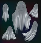 Set Of Ghosts Isolated On Background