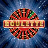 stock photo of roulette table  - vector red and golden sign with roulette wheel on starry night - JPG