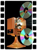Film projecter show move from cd disk