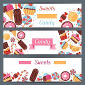 Horizontal banners with colorful candy, sweets and cakes.