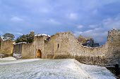 Ruins of Adare castle in winter scenery, Ireland