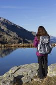 Hiker Woman Enjoying The Mountain Landscape In Autumn
