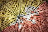 stock photo of tantric  - flag of Bhutan on cracked wooden texture - JPG