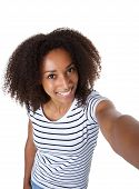 Beautiful African American Woman Taking A Selfie