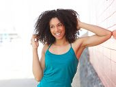 Young African American Woman Laughing Outdoors